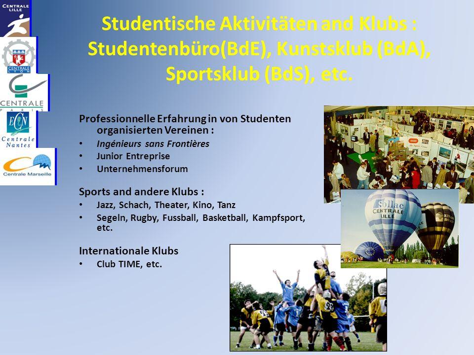 Studentische Aktivitäten and Klubs : Studentenbüro(BdE), Kunstsklub (BdA), Sportsklub (BdS), etc.