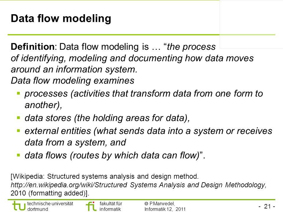 - 21 - technische universität dortmund fakultät für informatik P.Marwedel, Informatik 12, 2011 Data flow modeling Definition: Data flow modeling is …