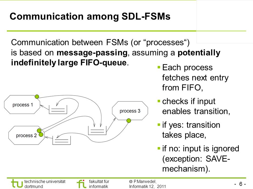 - 27 - technische universität dortmund fakultät für informatik P.Marwedel, Informatik 12, 2011 Computational power and analyzability KPNs are Turing-complete (anything which can be computed can be computed by a KPN) It is a challenge to schedule KPNs without accumulating tokens KPNs are computationally powerful, but difficult to analyze (e.g.