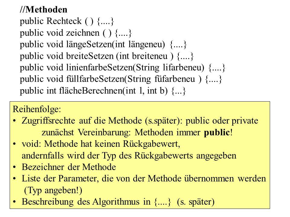 //Methoden public Rechteck ( ) {....} public void zeichnen ( ) {....} public void längeSetzen(int längeneu) {....} public void breiteSetzen (int breit
