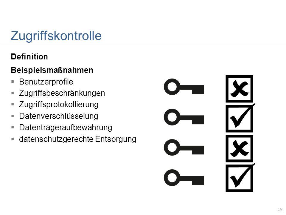 Zugriffskontrolle Definition Beispielsmaßnahmen Benutzerprofile Zugriffsbeschränkungen Zugriffsprotokollierung Datenverschlüsselung Datenträgeraufbewa