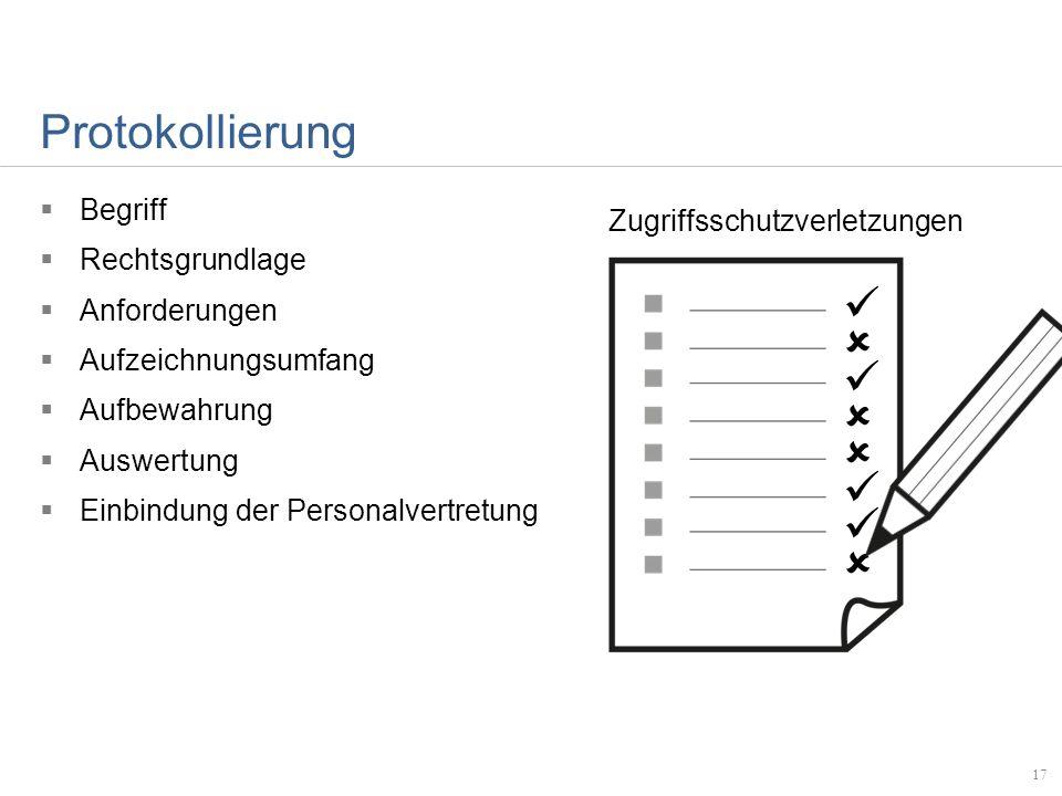 Protokollierung Begriff Rechtsgrundlage Anforderungen Aufzeichnungsumfang Aufbewahrung Auswertung Einbindung der Personalvertretung 17 Zugriffsschutzv