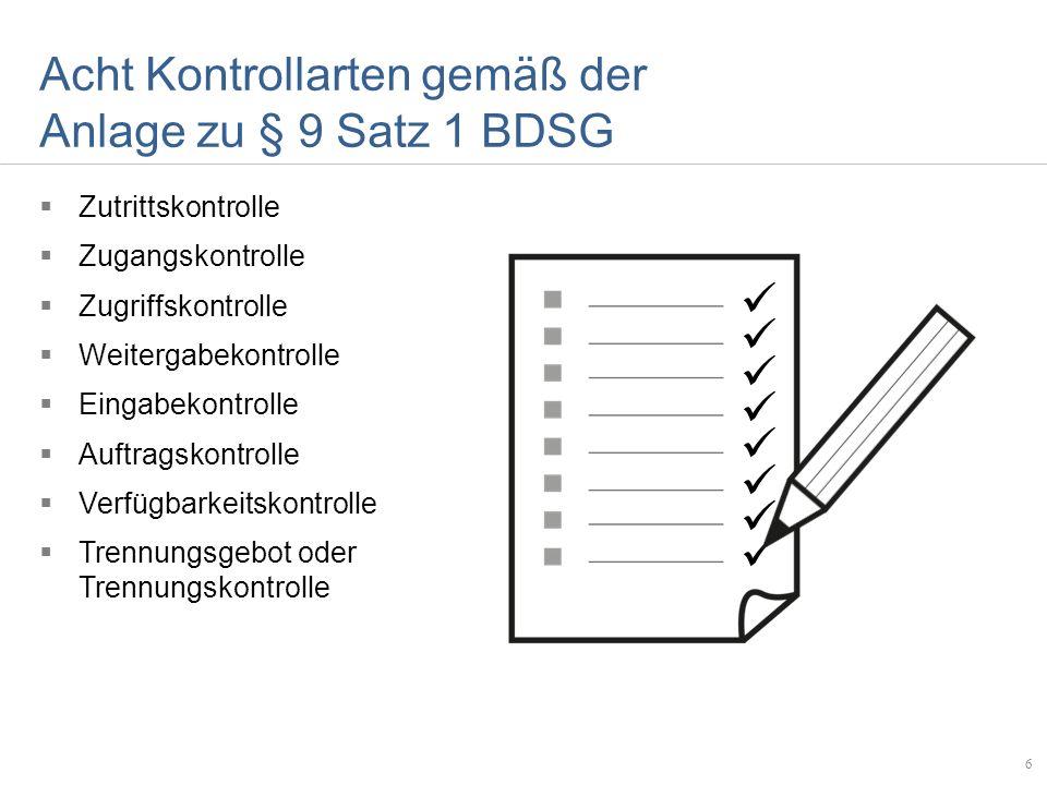 Acht Kontrollarten gemäß der Anlage zu § 9 Satz 1 BDSG Zutrittskontrolle Zugangskontrolle Zugriffskontrolle Weitergabekontrolle Eingabekontrolle Auftr