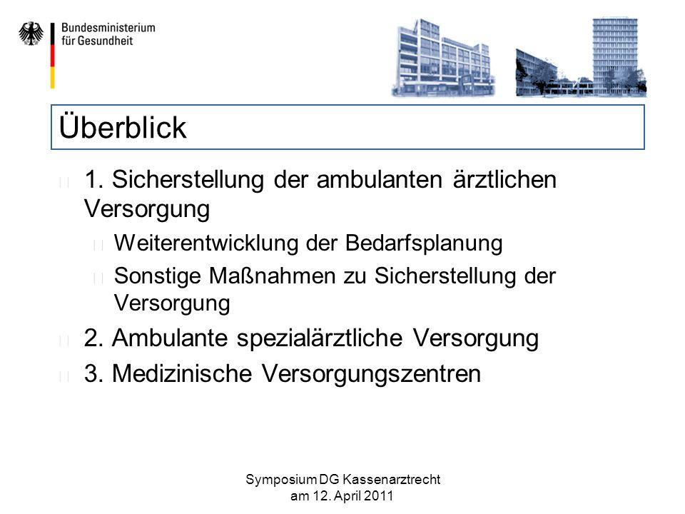 Neuausrichtung der Bedarfsplanung (?) Keine grundlegende Neukonzeption der Bedarfsplanung, sondern eine zielgerichtete Weiterentwicklung Die grundlegende Systematik bleibt bestehen: Bedarfsplanungsrichtlinie des G-BA mit bundesweiter Geltung.