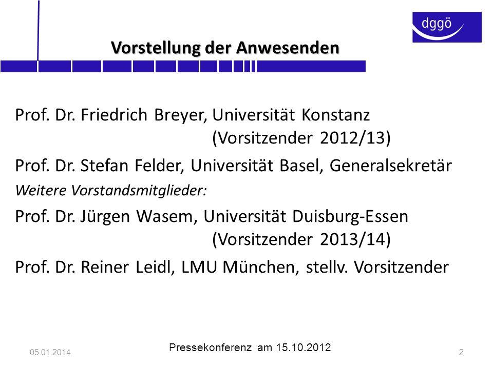 Die dggö(www.dggoe.de) -wurde im Oktober 2008 gegründet -hat inzwischen 670 Mitglieder -ist Mitglied in der AWMF (Arbeitsgemeinschaft der wissenschaftlichen medizinischen Fachgesellschaften e.V.) -vereint Mediziner und Ökonomen, Wissenschaftler und Praktiker -hält wissenschaftliche Jahrestagungen mit >300 Teilnehmern ab -veröffentlicht Stellungnahmen zur Gesundheitspolitik, u.a.: Gesundheitsreform (2010) AMNOG (2010) Organspende (2011) Praxisgebühr (April 2012) Pflegereform (Juni 2012) 05.01.20143 Pressekonferenz am 15.10.2012