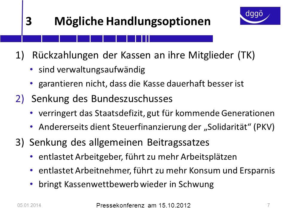 05.01.2014 Pressekonferenz am 15.10.2012 8 4Der Vorschlag der DGGÖ 1.Keine willkürliche Bemessung, sondern Regelbindung des Bundeszuschusses, z.B.