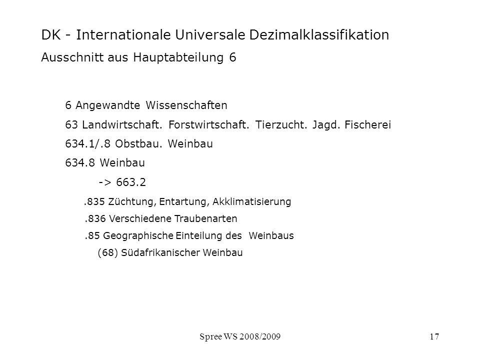 Spree WS 2008/200917 DK - Ausschnitt Hauptabteilung 6 6 Angewandte Wissenschaften 63 Landwirtschaft. Forstwirtschaft. Tierzucht. Jagd. Fischerei 634.1