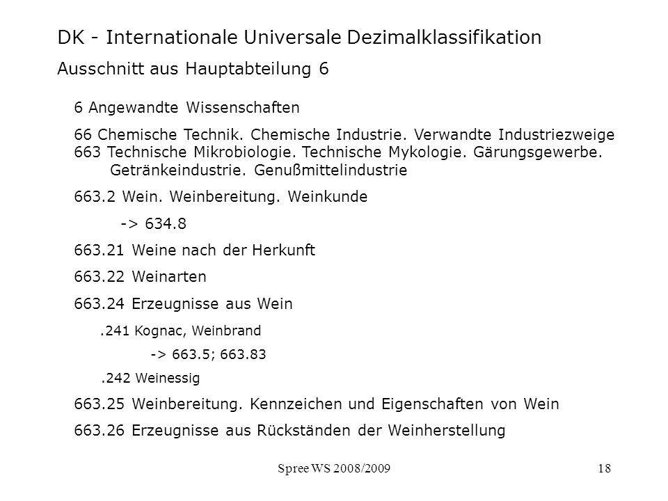 Spree WS 2008/200918 DK - Internationale Universale Dezimalklassifikation Ausschnitt aus Hauptabteilung 6 DK - Ausschnitt Hauptabteilung 6 6 Angewandt