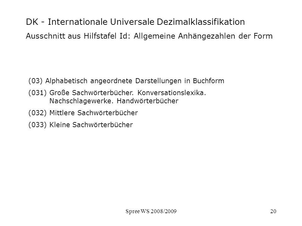 Spree WS 2008/200920 DK - Ausschnitt Hilfstafel Form (03) Alphabetisch angeordnete Darstellungen in Buchform (031) Große Sachwörterbücher. Konversatio