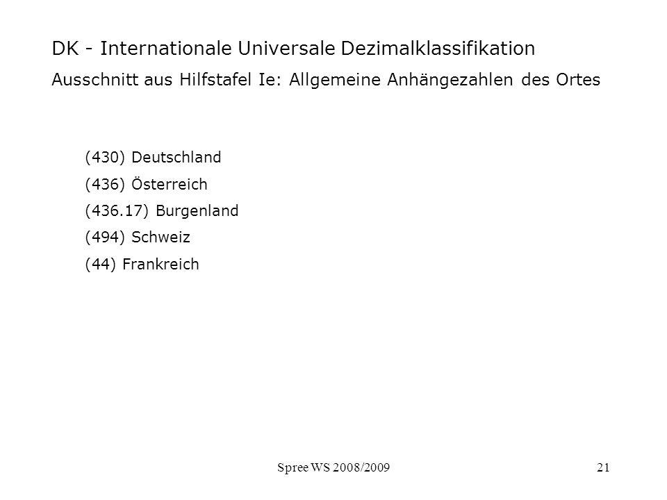 Spree WS 2008/200921 DK - Ausschnitt Hilfstafel Ort (430) Deutschland (436) Österreich (436.17) Burgenland (494) Schweiz (44) Frankreich DK - Internat
