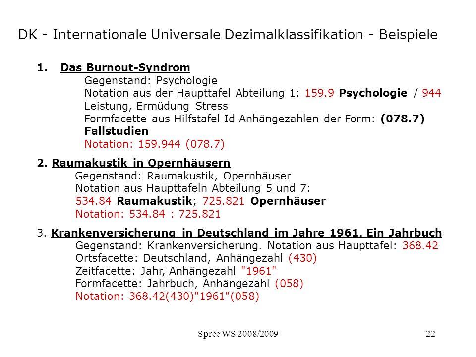 Spree WS 2008/200922 DK - Beispiele 1.Das Burnout-Syndrom Gegenstand: Psychologie Notation aus der Haupttafel Abteilung 1: 159.9 Psychologie / 944 Lei