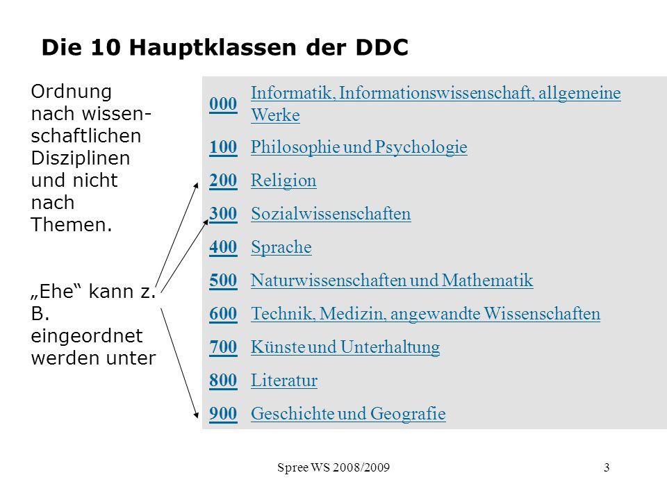 Spree WS 2008/200914 DK - Haupttafeln Haupttafeln 0 Allgemeines 1 Philosophie 2 Religion.