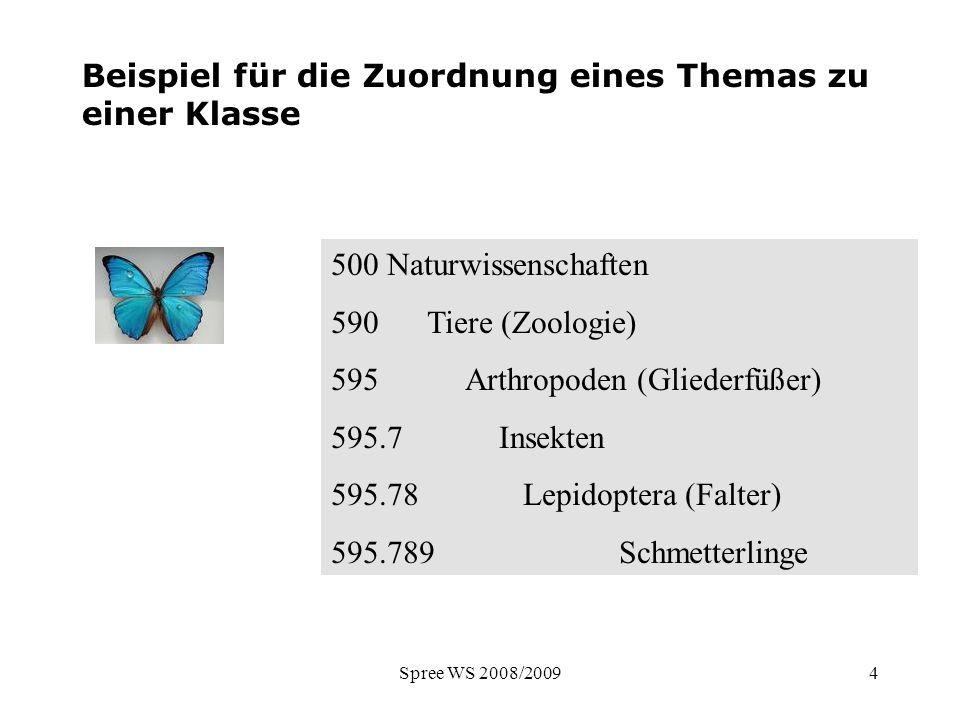 Spree WS 2008/20094 Beispiel für die Zuordnung eines Themas zu einer Klasse 500 Naturwissenschaften 590 Tiere (Zoologie) 595 Arthropoden (Gliederfüßer