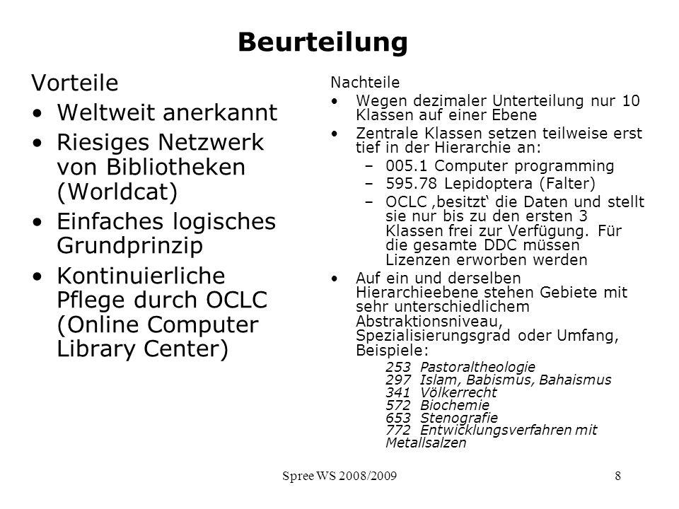 Spree WS 2008/20098 Beurteilung Vorteile Weltweit anerkannt Riesiges Netzwerk von Bibliotheken (Worldcat) Einfaches logisches Grundprinzip Kontinuierl