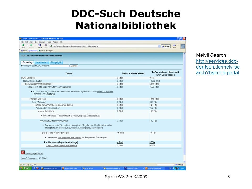 Spree WS 2008/20099 DDC-Such Deutsche Nationalbibliothek Melvil Search: http://services.ddc- deutsch.de/melvilse arch?bs=dnb-portal http://services.dd