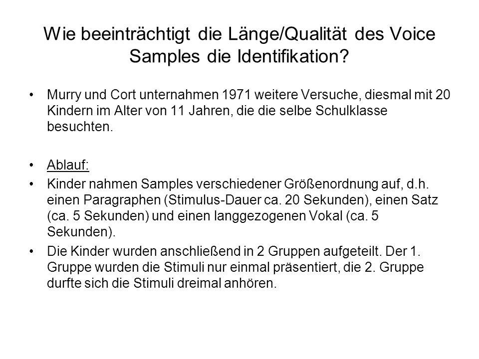 Wie beeinträchtigt die Länge/Qualität des Voice Samples die Identifikation.