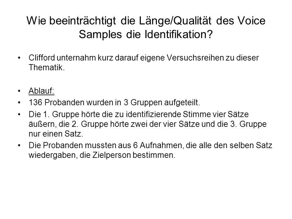 Wie beeinträchtigt die Länge/Qualität des Voice Samples die Identifikation? Clifford unternahm kurz darauf eigene Versuchsreihen zu dieser Thematik. A