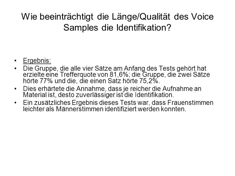 Wie beeinträchtigt die Länge/Qualität des Voice Samples die Identifikation? Ergebnis: Die Gruppe, die alle vier Sätze am Anfang des Tests gehört hat e