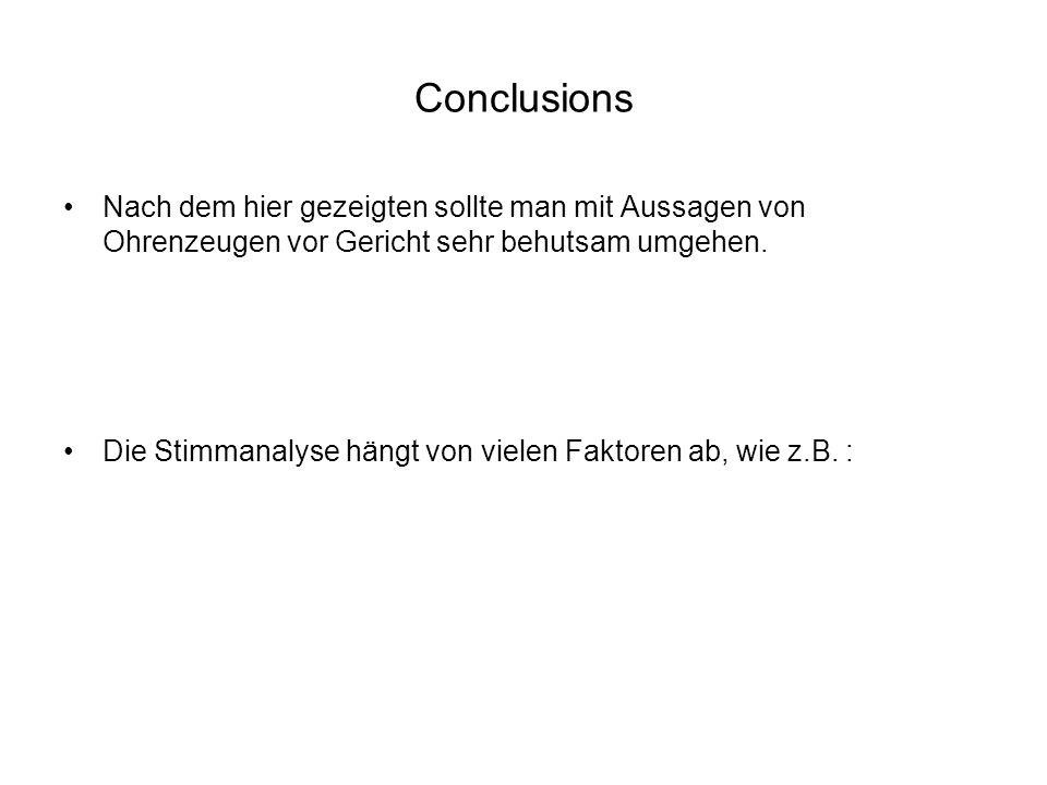 Conclusions Nach dem hier gezeigten sollte man mit Aussagen von Ohrenzeugen vor Gericht sehr behutsam umgehen.