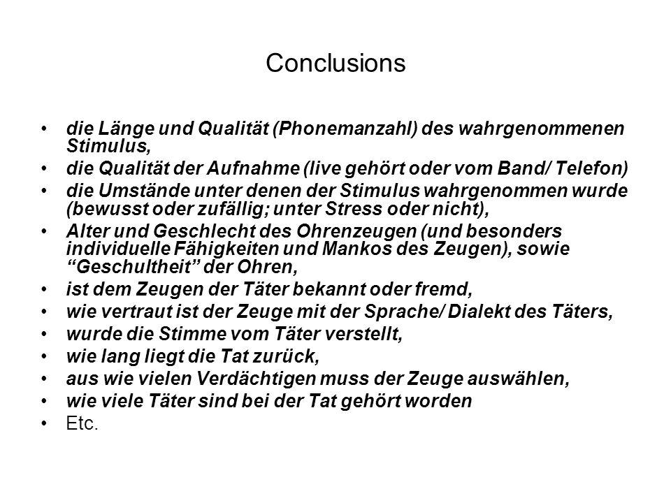 Conclusions die Länge und Qualität (Phonemanzahl) des wahrgenommenen Stimulus, die Qualität der Aufnahme (live gehört oder vom Band/ Telefon) die Umst