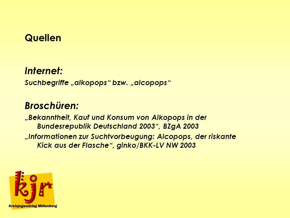 Quellen Internet: Suchbegriffe alkopops bzw. alcopops Broschüren: Bekanntheit, Kauf und Konsum von Alkopops in der Bundesrepublik Deutschland 2003, BZ