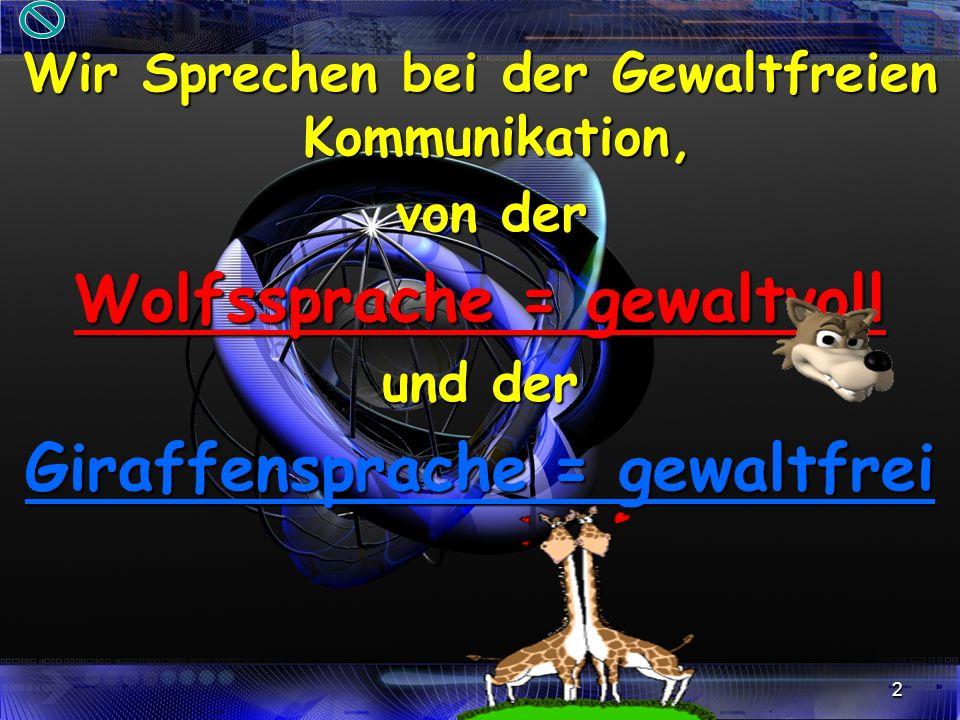 2 Wir Sprechen bei der Gewaltfreien Kommunikation, von der Wolfssprache = gewaltvoll und der Giraffensprache = gewaltfrei
