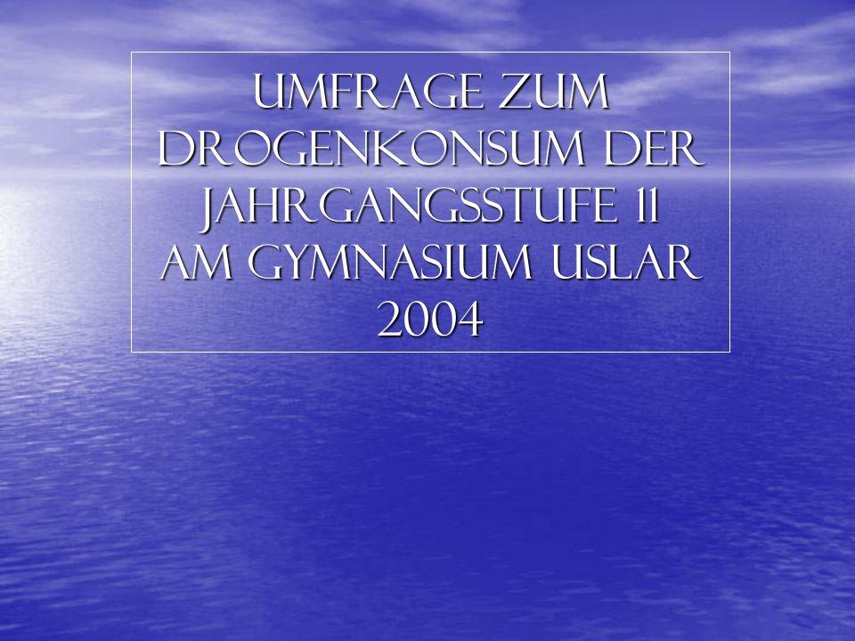Umfrage zum Drogenkonsum der Jahrgangsstufe 11 am Gymnasium Uslar 2004