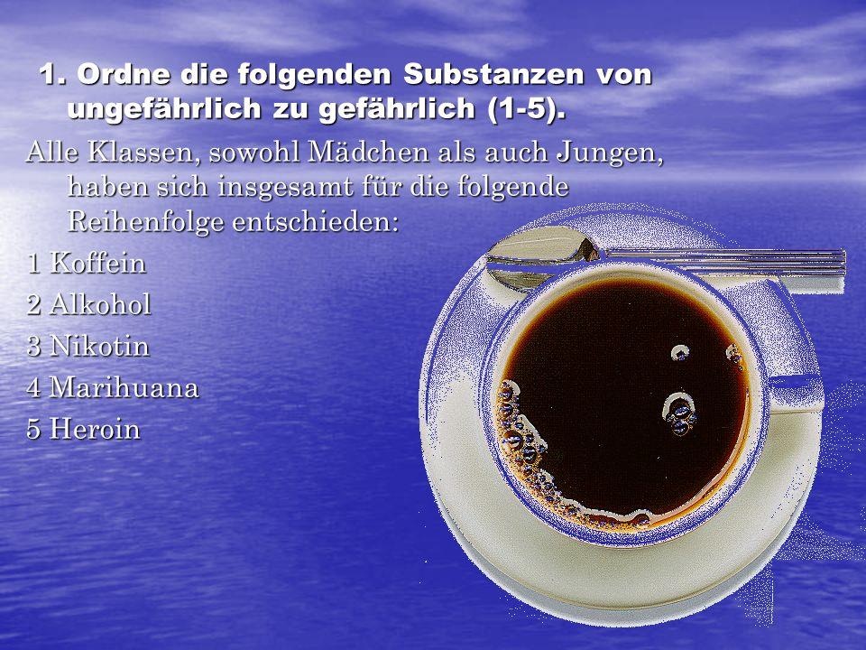 1. Ordne die folgenden Substanzen von ungefährlich zu gefährlich (1-5). 1. Ordne die folgenden Substanzen von ungefährlich zu gefährlich (1-5). Alle K