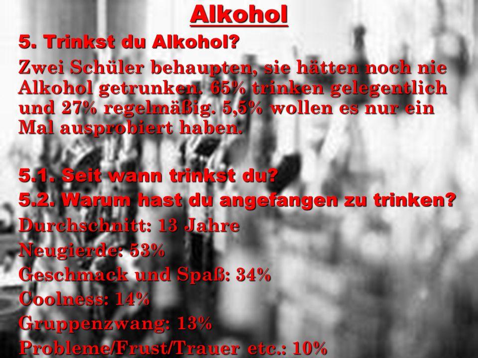 Alkohol 5. Trinkst du Alkohol? Zwei Schüler behaupten, sie hätten noch nie Alkohol getrunken. 65% trinken gelegentlich und 27% regelmäßig. 5,5% wollen