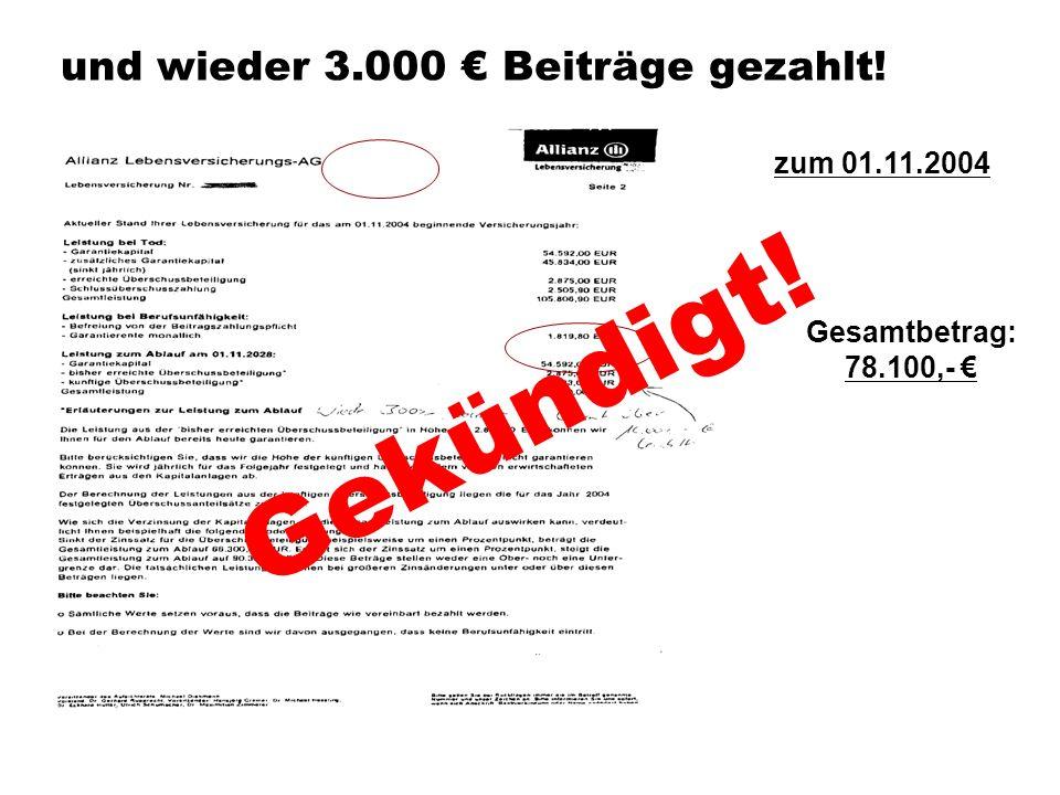 und wieder 3.000 Beiträge gezahlt! Gesamtbetrag: 78.100,- zum 01.11.2004 Gekündigt!