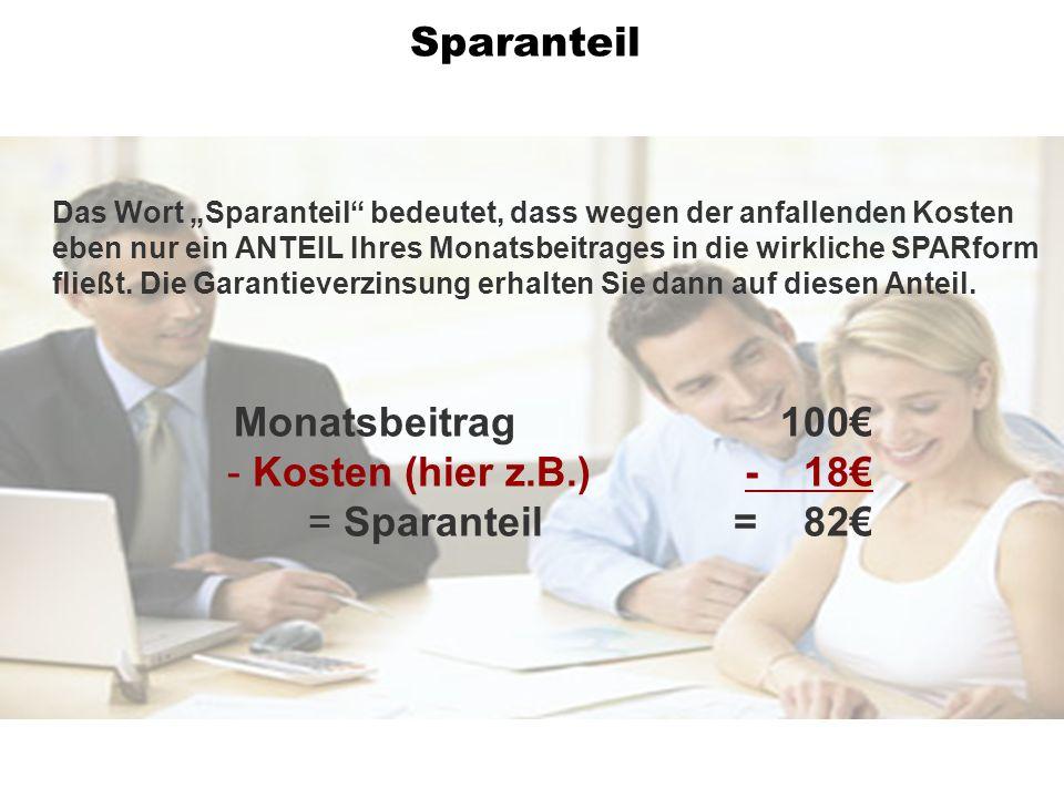 Monatsbeitrag 100 - Kosten (hier z.B.) - 18 = Sparanteil= 82 Das Wort Sparanteil bedeutet, dass wegen der anfallenden Kosten eben nur ein ANTEIL Ihres