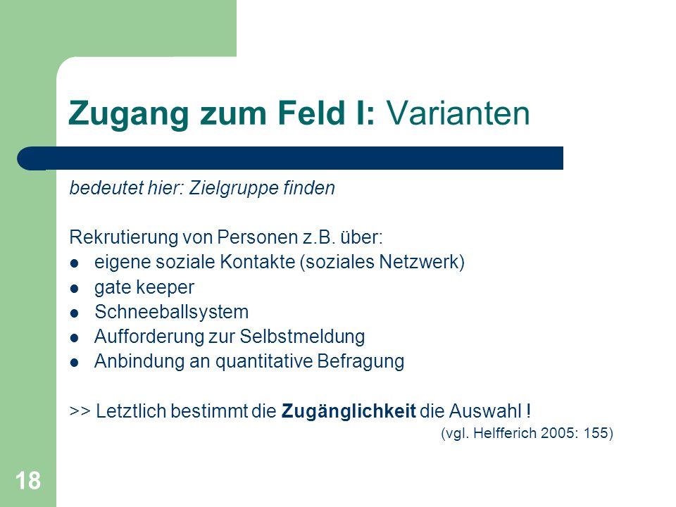 18 Zugang zum Feld I: Varianten bedeutet hier: Zielgruppe finden Rekrutierung von Personen z.B. über: eigene soziale Kontakte (soziales Netzwerk) gate
