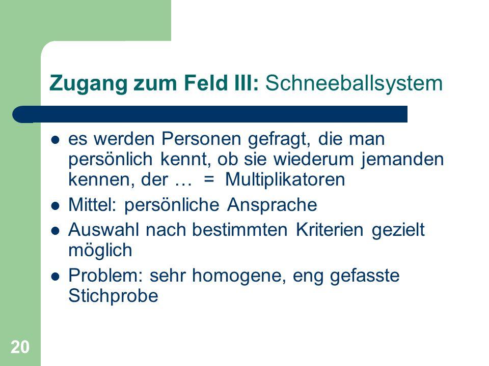 20 Zugang zum Feld III: Schneeballsystem es werden Personen gefragt, die man persönlich kennt, ob sie wiederum jemanden kennen, der … = Multiplikatore