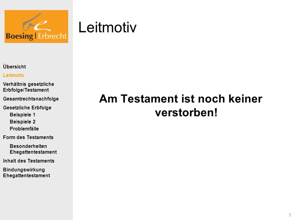 3 Leitmotiv Am Testament ist noch keiner verstorben! Übersicht Leitmotiv Verhältnis gesetzliche Erbfolge/Testament Gesamtrechtsnachfolge Gesetzliche E