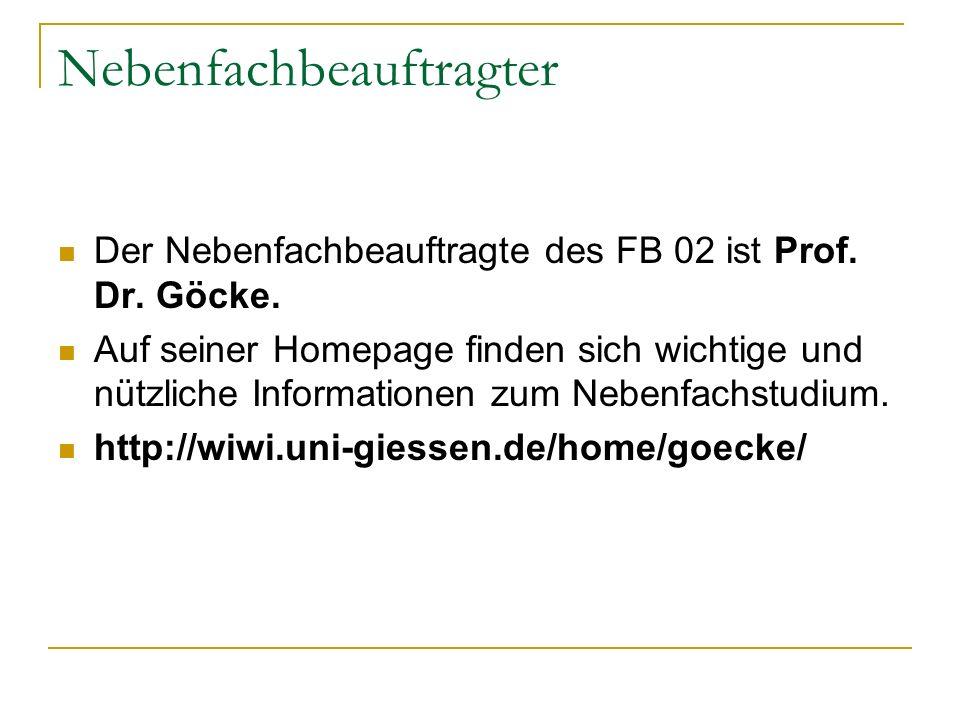 Nebenfachbeauftragter Der Nebenfachbeauftragte des FB 02 ist Prof. Dr. Göcke. Auf seiner Homepage finden sich wichtige und nützliche Informationen zum
