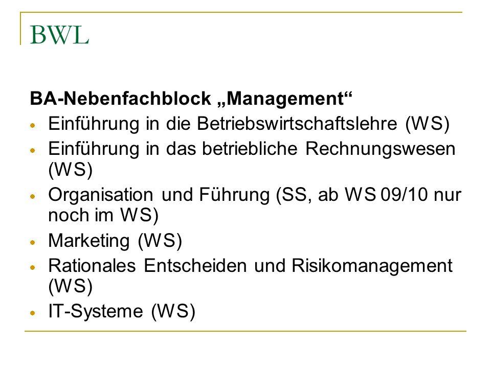 BWL BA-Nebenfachblock Management Einführung in die Betriebswirtschaftslehre (WS) Einführung in das betriebliche Rechnungswesen (WS) Organisation und F