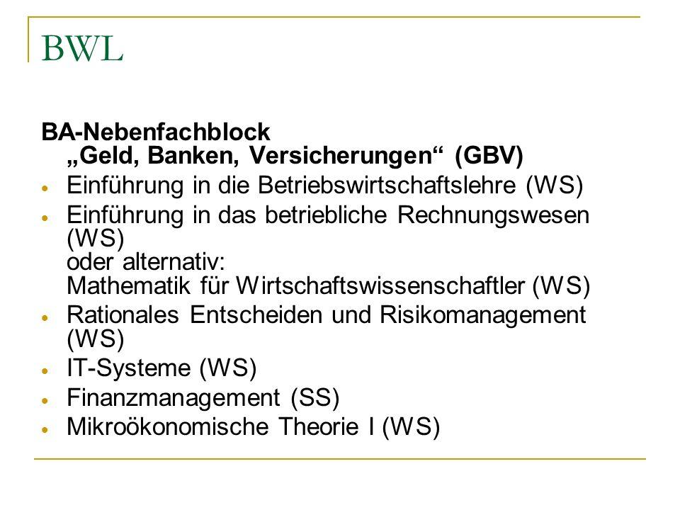 BWL BA-Nebenfachblock Geld, Banken, Versicherungen (GBV) Einführung in die Betriebswirtschaftslehre (WS) Einführung in das betriebliche Rechnungswesen