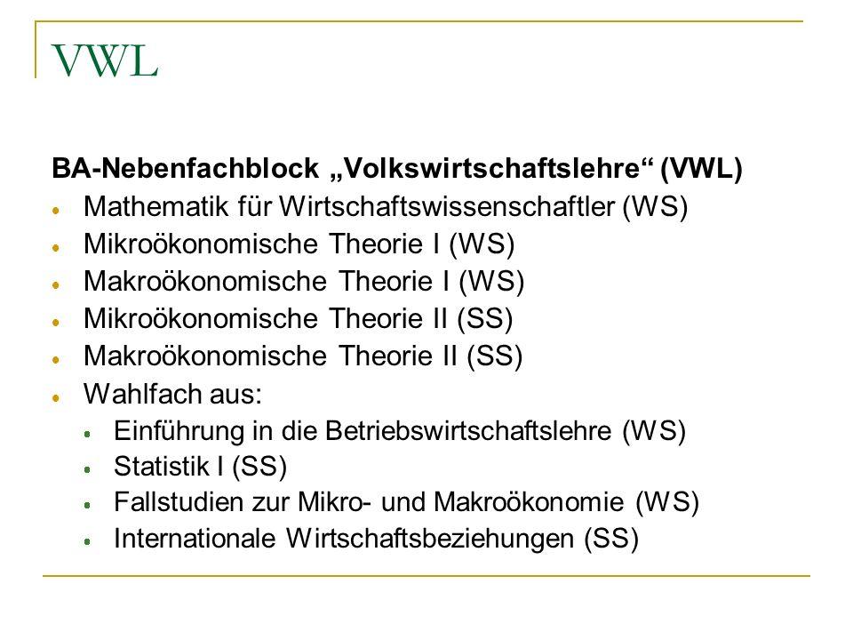 VWL BA-Nebenfachblock Volkswirtschaftslehre (VWL) Mathematik für Wirtschaftswissenschaftler (WS) Mikroökonomische Theorie I (WS) Makroökonomische Theo