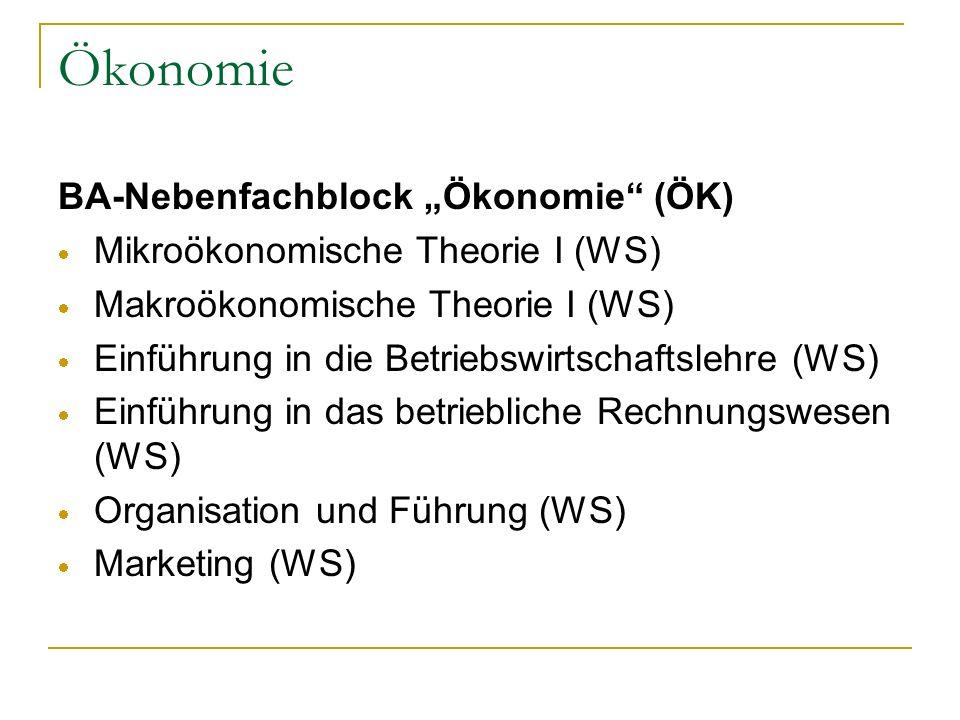 Ökonomie BA-Nebenfachblock Ökonomie (ÖK) Mikroökonomische Theorie I (WS) Makroökonomische Theorie I (WS) Einführung in die Betriebswirtschaftslehre (W