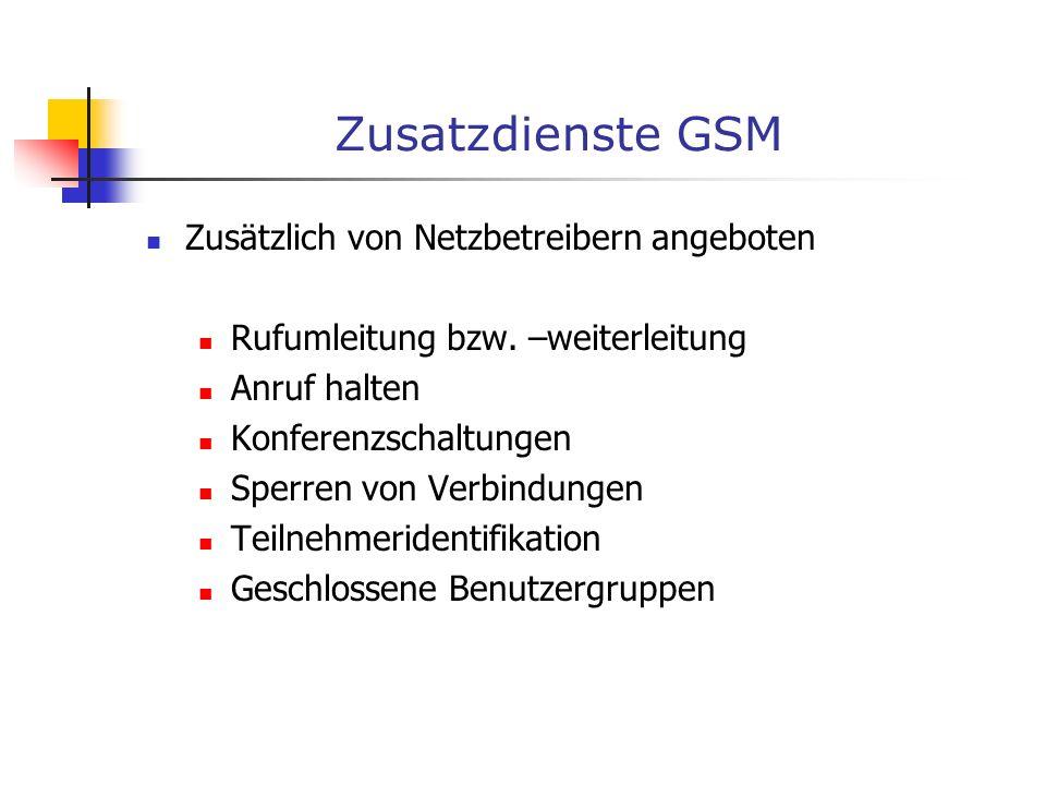 Zusatzdienste GSM Zusätzlich von Netzbetreibern angeboten Rufumleitung bzw. –weiterleitung Anruf halten Konferenzschaltungen Sperren von Verbindungen