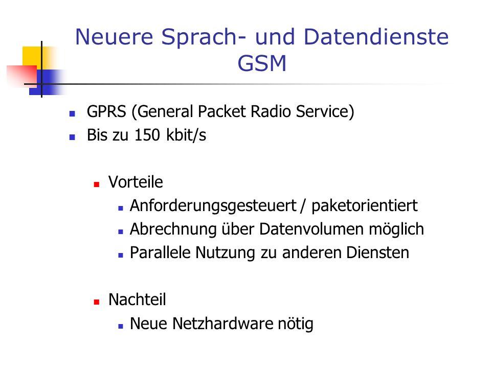 Neuere Sprach- und Datendienste GSM GPRS (General Packet Radio Service) Bis zu 150 kbit/s Vorteile Anforderungsgesteuert / paketorientiert Abrechnung