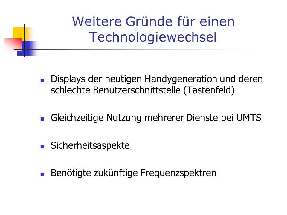 Weitere Gründe für einen Technologiewechsel Displays der heutigen Handygeneration und deren schlechte Benutzerschnittstelle (Tastenfeld) Gleichzeitige
