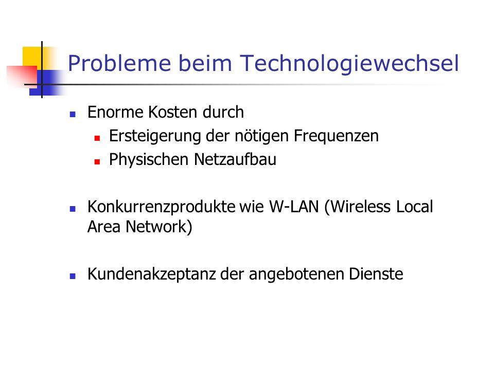 Probleme beim Technologiewechsel Enorme Kosten durch Ersteigerung der nötigen Frequenzen Physischen Netzaufbau Konkurrenzprodukte wie W-LAN (Wireless