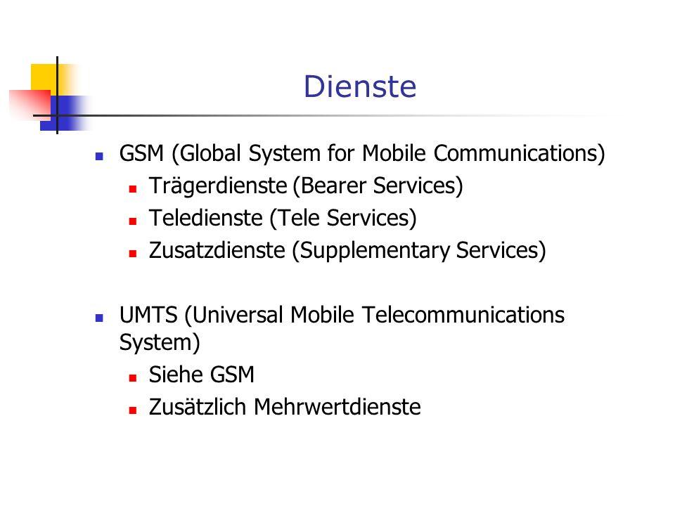 Neuere Sprach- und Datendienste GSM GPRS (General Packet Radio Service) Bis zu 150 kbit/s Vorteile Anforderungsgesteuert / paketorientiert Abrechnung über Datenvolumen möglich Parallele Nutzung zu anderen Diensten Nachteil Neue Netzhardware nötig