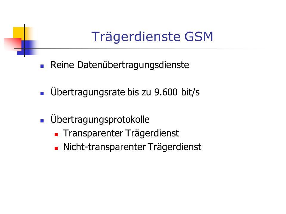 Trägerdienste GSM Reine Datenübertragungsdienste Übertragungsrate bis zu 9.600 bit/s Übertragungsprotokolle Transparenter Trägerdienst Nicht-transpare
