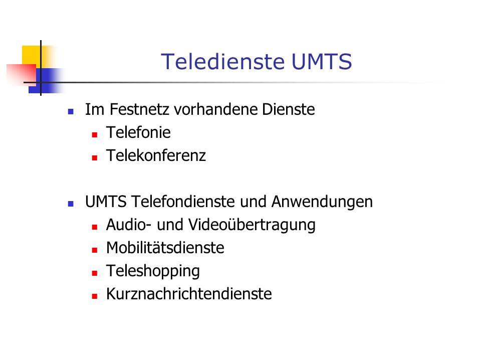Teledienste UMTS Im Festnetz vorhandene Dienste Telefonie Telekonferenz UMTS Telefondienste und Anwendungen Audio- und Videoübertragung Mobilitätsdien