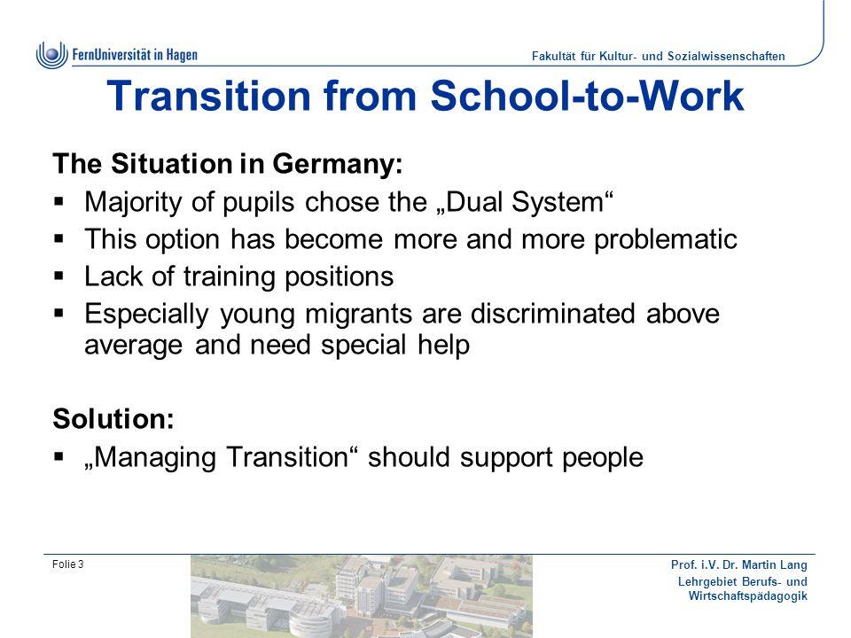 Fakultät für Kultur- und Sozialwissenschaften Prof. i.V. Dr. Martin Lang Lehrgebiet Berufs- und Wirtschaftspädagogik Folie 3 Transition from School-to