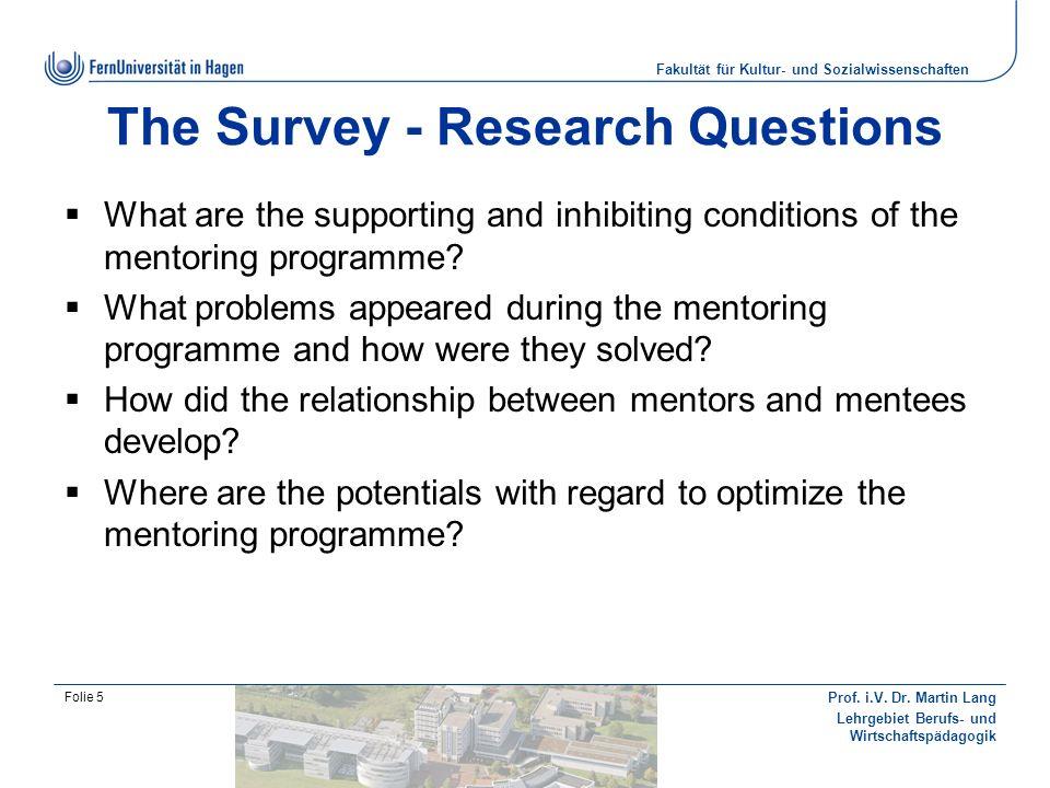 Fakultät für Kultur- und Sozialwissenschaften Prof. i.V. Dr. Martin Lang Lehrgebiet Berufs- und Wirtschaftspädagogik Folie 5 The Survey - Research Que