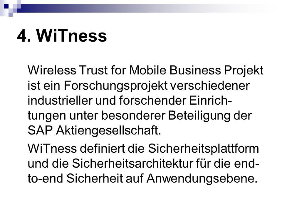 4. WiTness Wireless Trust for Mobile Business Projekt ist ein Forschungsprojekt verschiedener industrieller und forschender Einrich- tungen unter beso