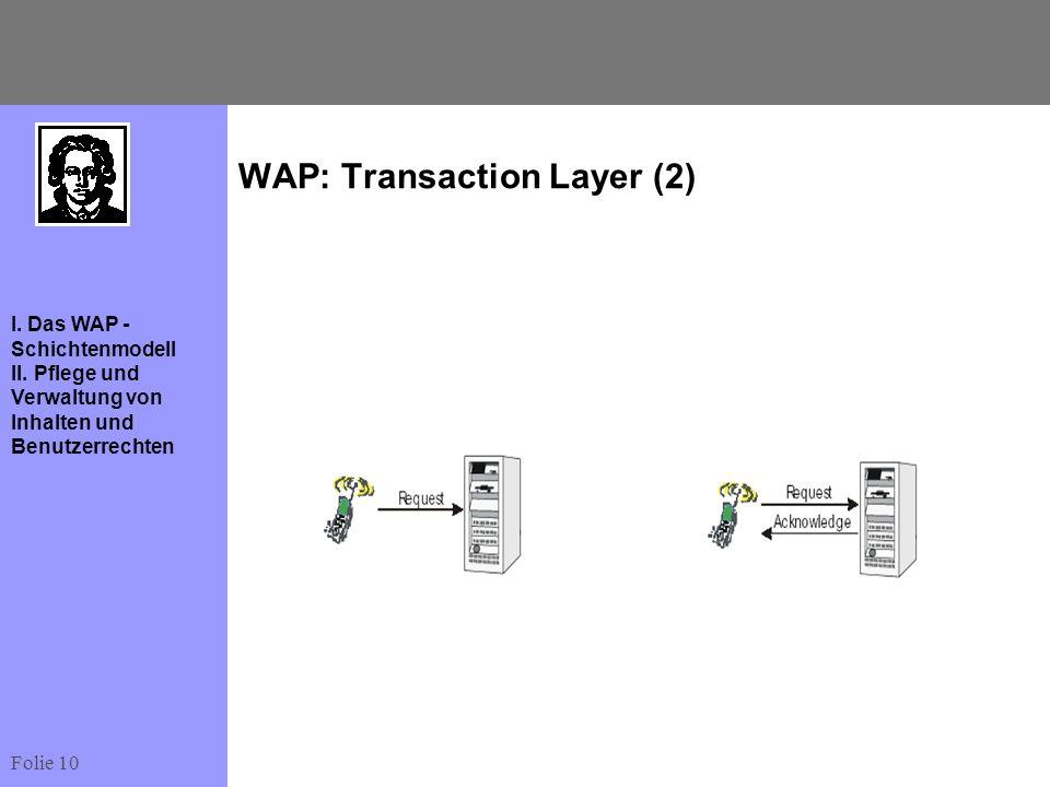Folie 10 I. Das WAP - Schichtenmodell II. Pflege und Verwaltung von Inhalten und Benutzerrechten WAP: Transaction Layer (2)